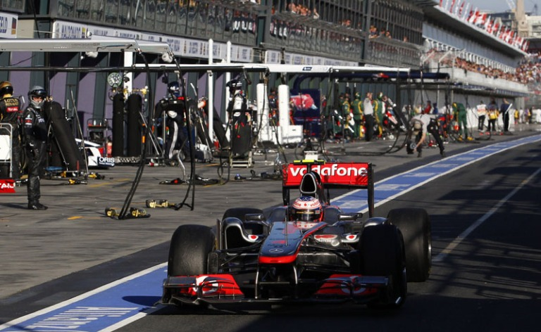 Jenson Button penalized Melbourne Australia 2011