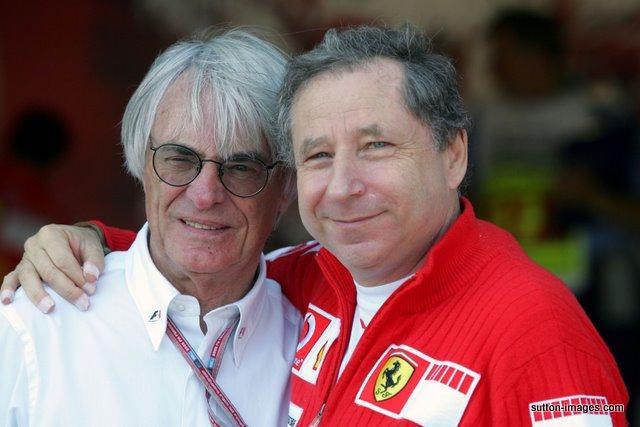 Bernie Ecclestone (GBR) F1 Supremo and Jean Todt (FRA) Ferrari