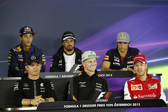 Red Bull Ring, Spielberg, Austria. Thursday 18 June 2015. Daniel Ricciardo, Red Bull Racing, Fernando Alonso, McLaren, Carlos Sainz Jr, Toro Rosso, Sebastian Vettel, Ferrari, Nico Hulkenberg, Force India, and Nico Rosberg, Mercedes AMG, in the Drivers Press Conference. World Copyright: Alastair Staley/LAT Photographic. ref: Digital Image _R6T6475