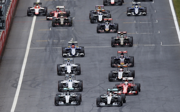 Mandatory Credit: Photo by Dunbar/LAT/REX Shutterstock (4850924u)  Lewis Hamilton, Mercedes F1 W06 Hybrid, battles with Nico Rosberg, Mercedes F1 W06 Hybrid, for the lead as the grid launches towards the first corner of the race.  Austrian Formula One 1 Grand Prix, Red Bull Ring, Spielberg, Austria - 21 Jun 2015.