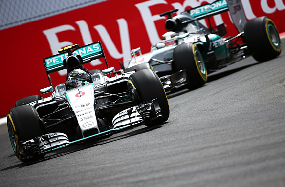 Nico Rosberg (GER) Mercedes AMG F1 W06 leads team mate Lewis Hamilton (GBR) Mercedes AMG F1 W06. 31.10.2015. Formula 1 World Championship, Rd 17, Mexican Grand Prix, Mexixo City, Mexico, Qualifying Day. - www.xpbimages.com, EMail: requests@xpbimages.com - copy of publication required for printed pictures. Every used picture is fee-liable. © Copyright: Batchelor / XPB Images