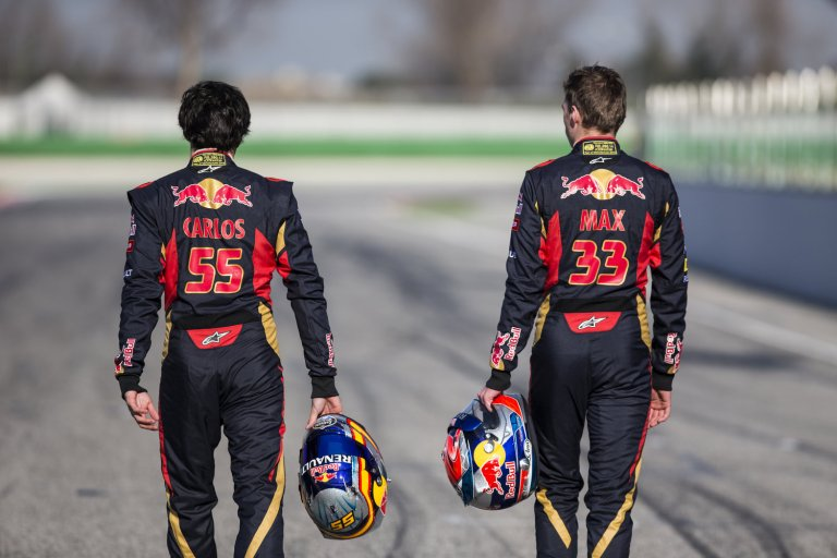 torre-rosso-f1-driver-carlos-sainz-and-max-verstappen-in-barcelona-spain