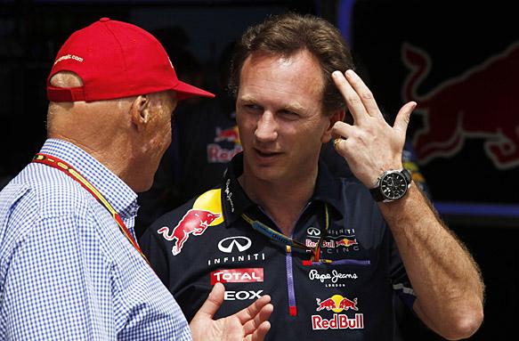 Circuit de Catalunya, Barcelona, Spain. Sunday 11 May 2014. Niki Lauda, Non-Executive Chairman, Mercedes AMG, with Christian Horner, Team Principal, Red Bull Racing. World Copyright: Charles Coates/LAT Photographic. ref: Digital Image _N7T0626